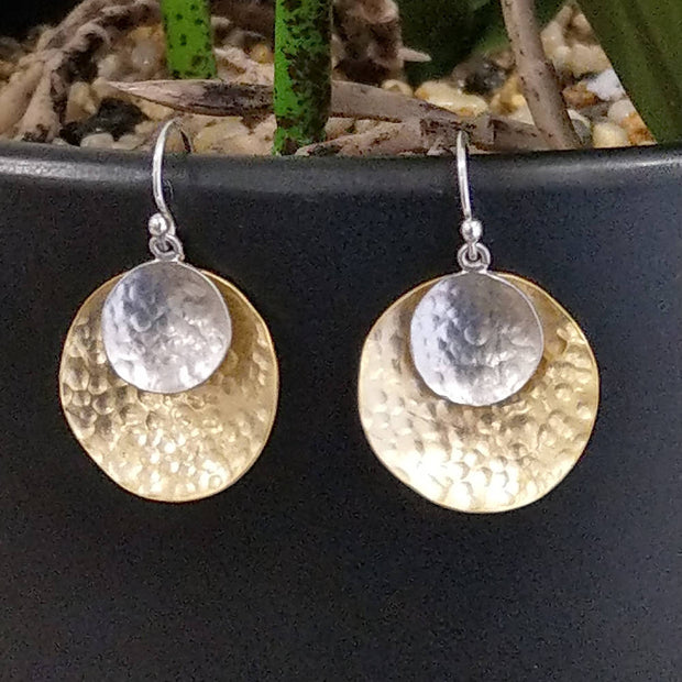 Cora double drop Silver and Gold Earring