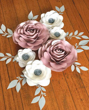 6-PIECE PAPER ROSES/ Nursery Paperflowers/ Baby Shower/ Bridal Shower