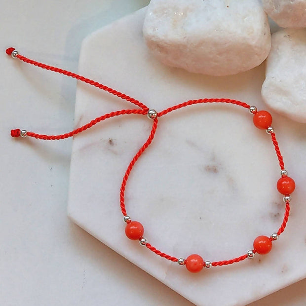 Sterling Silver, Coral Silk adjustable stacking bracelet