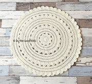 80cm Cream Crochet Floor Rug