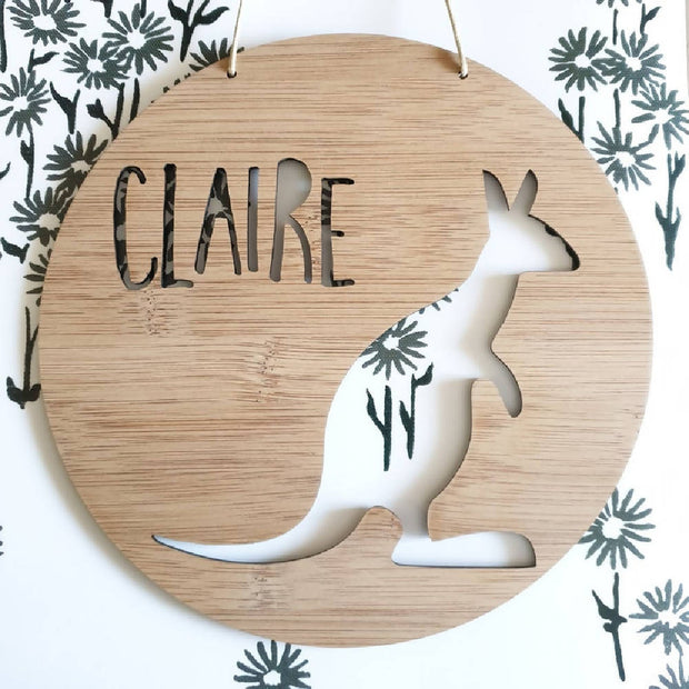 Kangaroo Wall Hanging (Bamboo or Pastel Coloured Acrylic)
