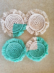 Macrame coil coaster set - recycled cotton