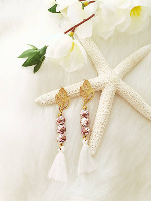 Snow Flowers Ceramic Tassel Earrings