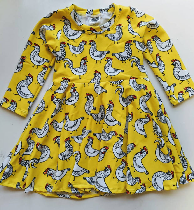 size 2 CHICKENS LONG SLEEVE full twirly dress