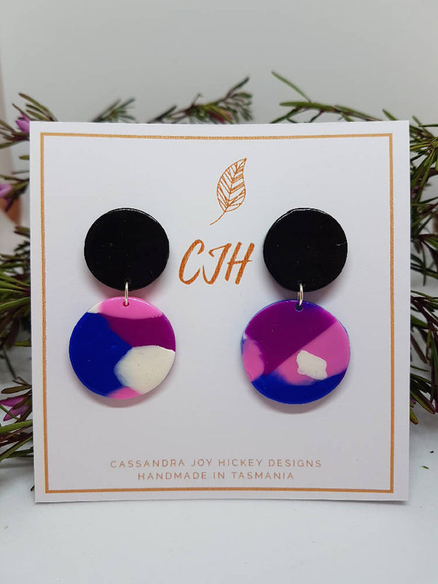 "Pink, Blue and Black Polymer Clay ""Crown"" Stud Earring"