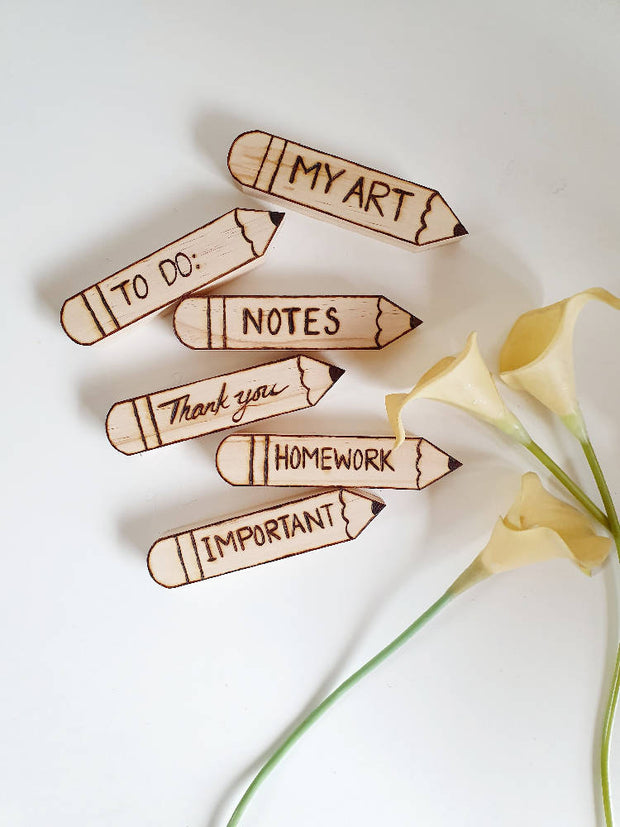 Pyrographed Pencil Shaped Magnet Set