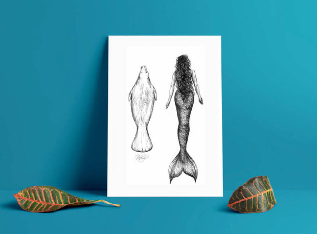 Mermaid and Manatee Art Print - Nautical Drawing - A4