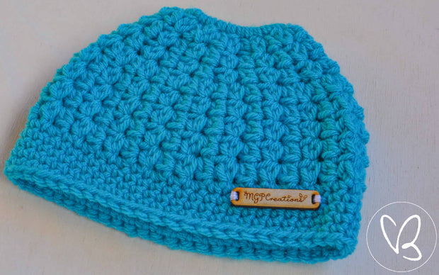 Acqua/Blue Children's Ponytail/Messy Bun Beanie