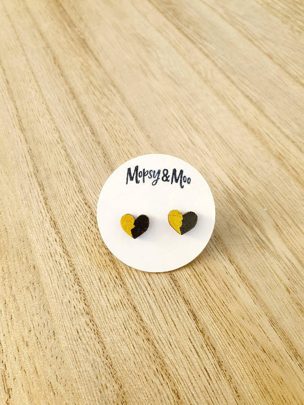 Hand-painted Heart Stud Earrings