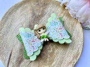 Green sparkly fairy girl clay glitter hair bow, floral baby bow, hair accessories, baby shower iso birthday stocking stuffer gift