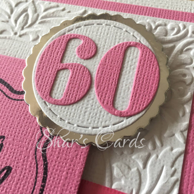 Decade Birthday card, white embossed with colour. Made to order,
