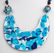 HAND PAINTED NECKLACE - BLUES - 24
