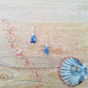 Aqua Crystal Agate Earrings