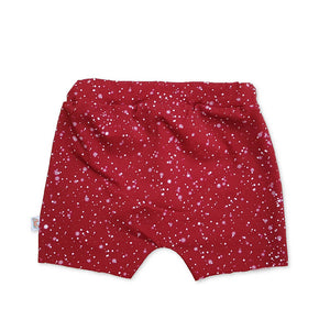 christmas kids shorts, burgundy toddler shorts, faux snow christmas shorts