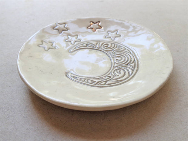 Moon stars ceramic jewelry dish incense burner, celestial ring holder trinket pottery soap dish spoon rest meditation zen Mothers day gift