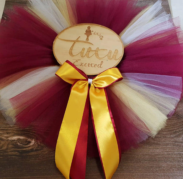 Maroon and Yellow Tutu - Size 2