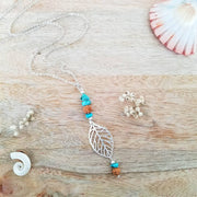 Tribal Leaf Silver Necklace