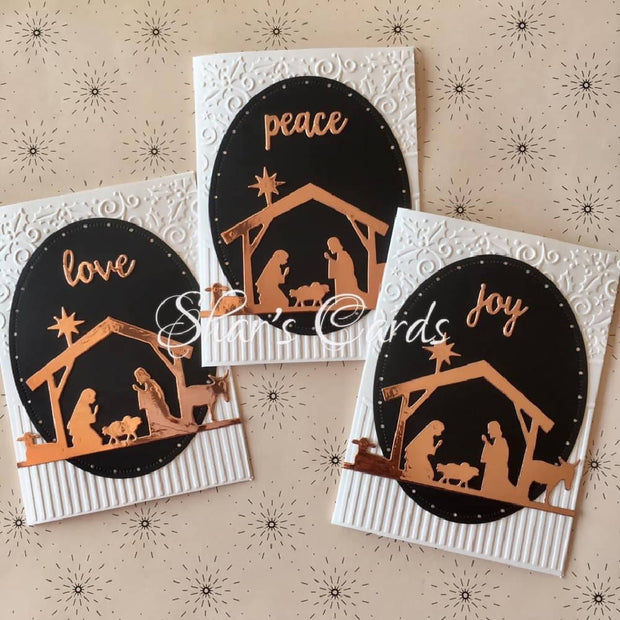 Love Joy Peace Christmas Cards in rose gold