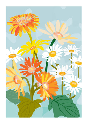 'Gerberas & Daisies' in Orange - Fine Art Print by Xanthe Grundy of Wife-made