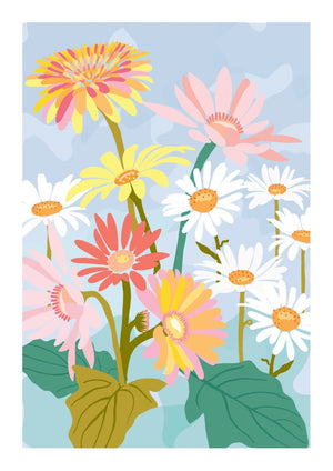'Gerberas & Daisies' in Pink - Fine Art Print by Xanthe Grundy of Wife-made