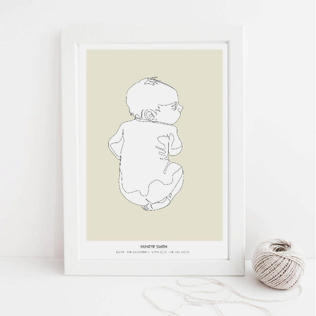 FREE Fathers Day Personalised print with any birth poster to scale -newborn baby line drawing