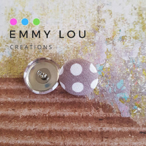 Polka Dot Fabric Button Earrings