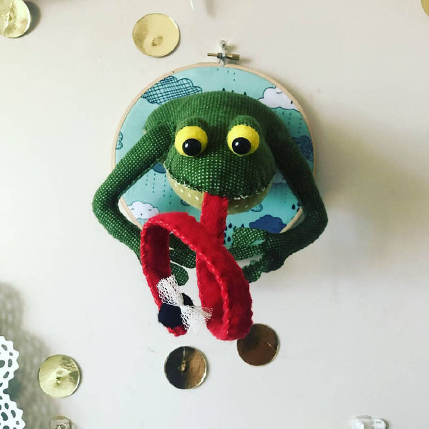 Frog with Fly Faux Taxidermy