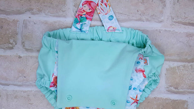 organic baby romper, girls bubble romper, Mermaid summer romper