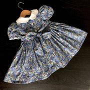 Smocked floral dress - scalloped pique collar - size 3