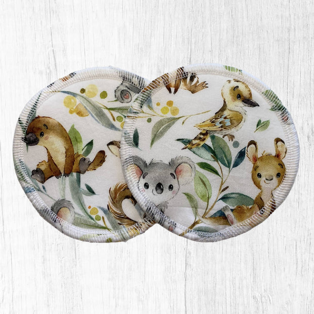 Reusable Breast Pads / Nursing Pads - Aussie Animals White 3 pack