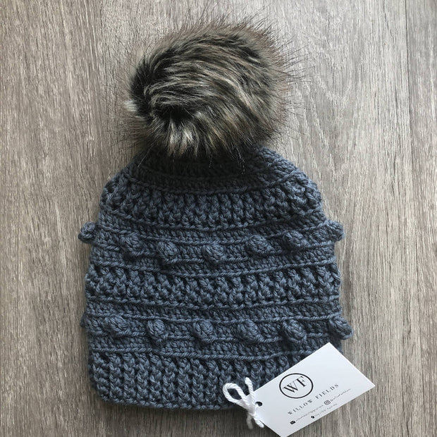 Adult Aussie Wool Bobble Beanie - Dark Grey