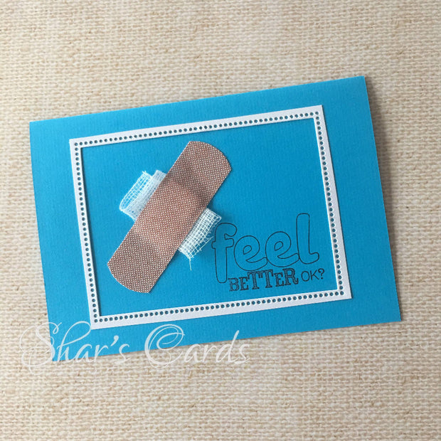Blue Bandaid Get Well Soon card