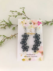 Black three flower quilled earrings - you won't believe it's paper!