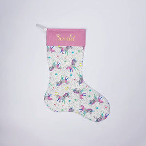 Personalised Unicorn Christmas stocking.