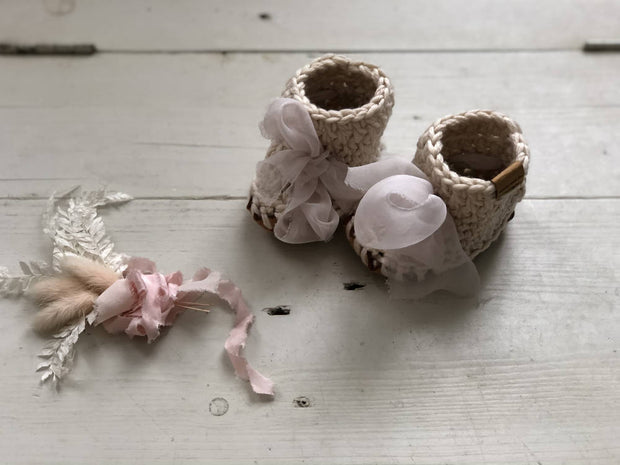 Baby Booties with Hand painted Silk Ribbons ~Market Special