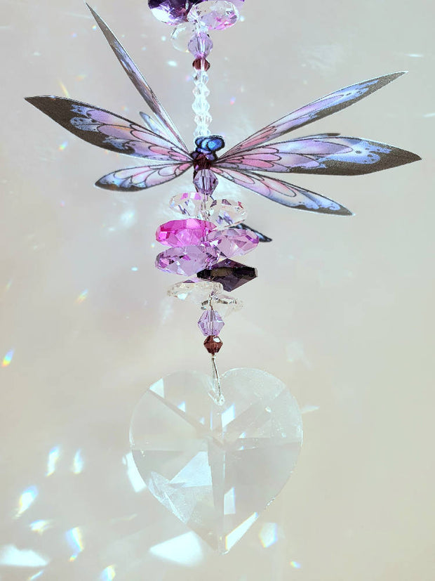 Dragonfly suncatchers with heart crystal