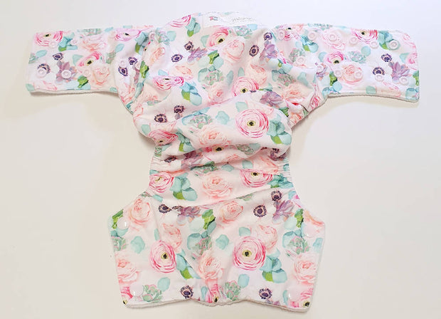 Pink Floral Modern Cloth Nappy Shell