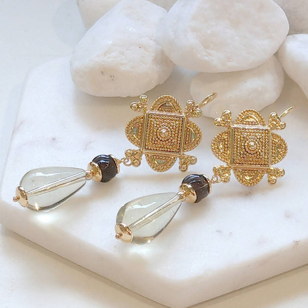 Lemon Quartz, Carved Smokey Quartz beaded Gold Sheppard