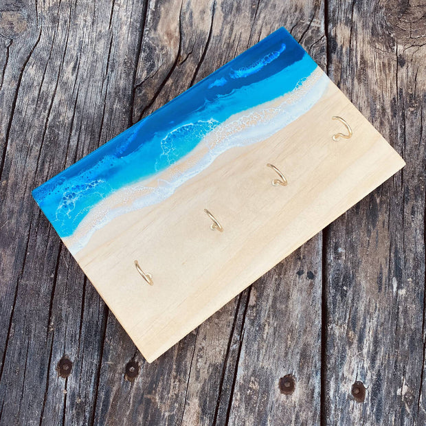 Key holder hanging Board with ocean resin art