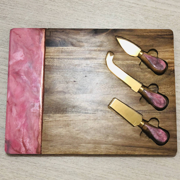 Custom Colour Cheese Board & Knife Set