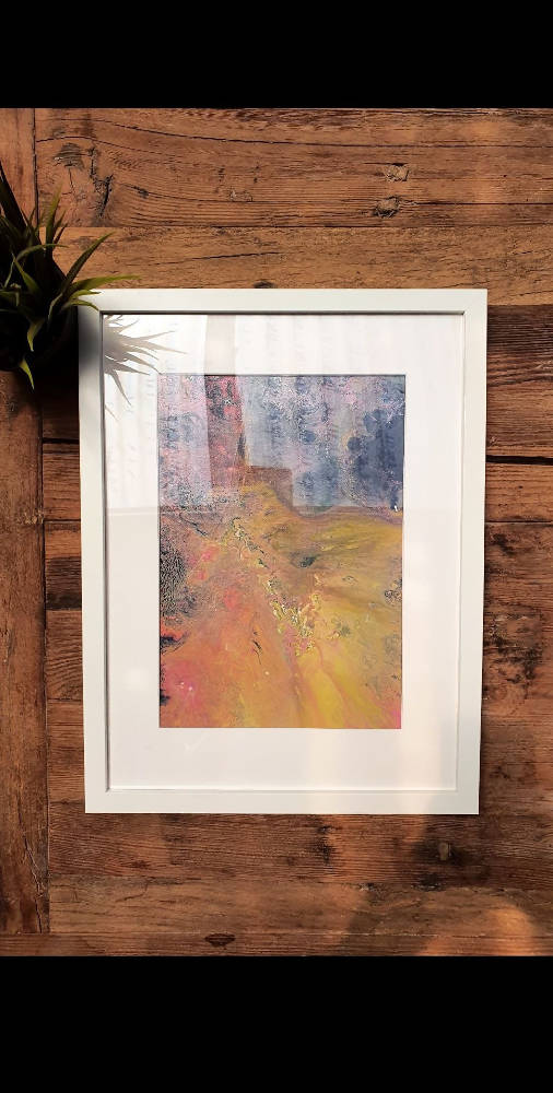 Framed Acrylic Fluid Artwork
