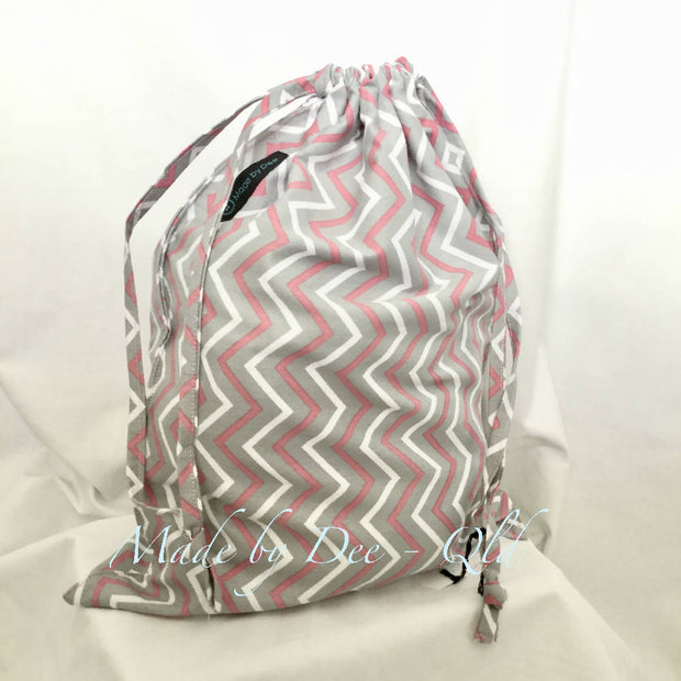 Drawstring Bag - CHEVRON Pink