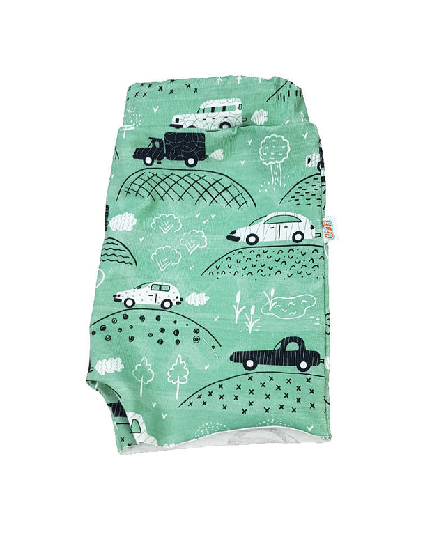 raw edges kids shorts, unisex toddler shorts, car kids shorts