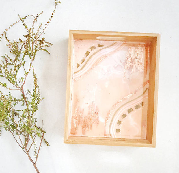 Blush styled Bamboo Serving tray decorated with resin. Breakfast in bed sorted