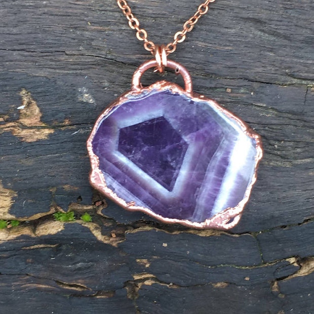 MARKET SPECIAL - Chevron Amethyst Slice Necklace