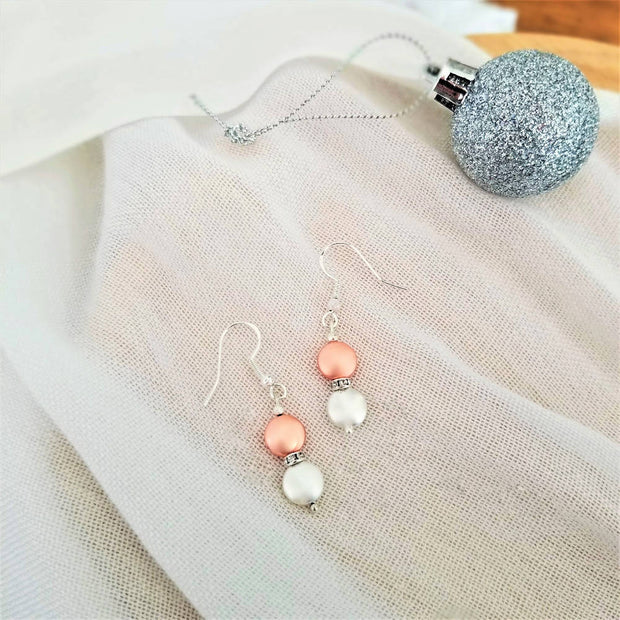 Rose Gold Silver Rhinestone Duo Earrings