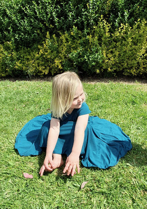 Girls Petrol Green Christmas Dress