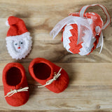 Baby's first Christmas Seasonal Sneakers - 100% wool felted handmade baby shoes