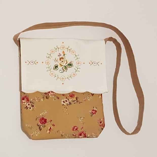 Vintage inspired, upcycled shoulder bag - One of a kind with brown-orange & rose details.