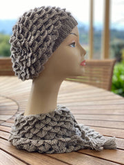 Hand crochet beret and scarf